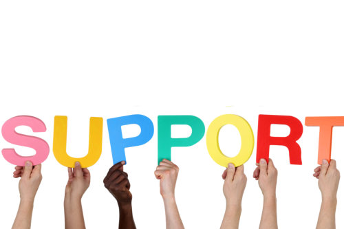 Multi ethnic group of people holding the word support isolated
